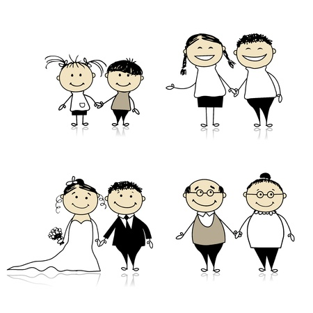 Family relationship - children, young, adults, seniors Vector