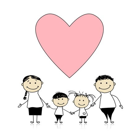 Happy family with love, drawing sketch  Vector