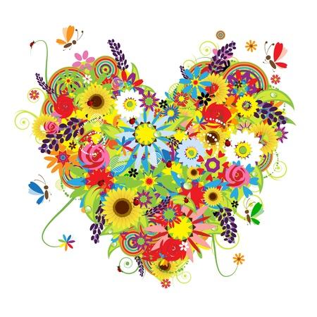 hart bloem: Zomer bloemen hart voor uw ontwerp  Stock Illustratie