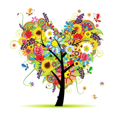 Summer floral tree, heart shape  Vector