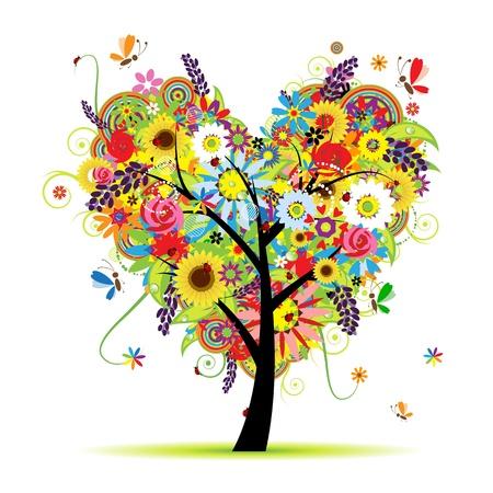 dessin coeur: �t� floral arbre, forme de c?ur