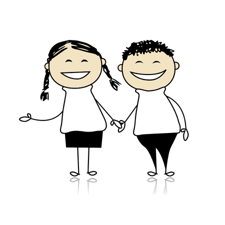 together: Funny couple laugh - boy and girl together, illustration for your design