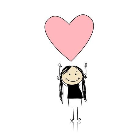 dessin coeur: Jour de la Saint-Valentin - cute girl tenant coeur