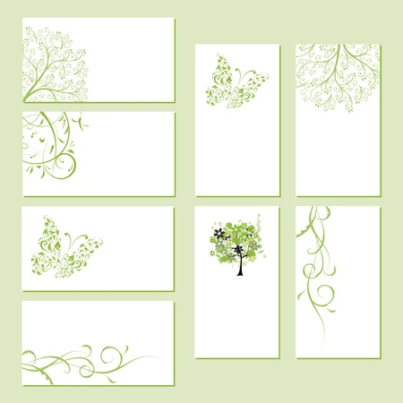 Set of business cards, floral ornament for your design  Stock Vector - 8591997