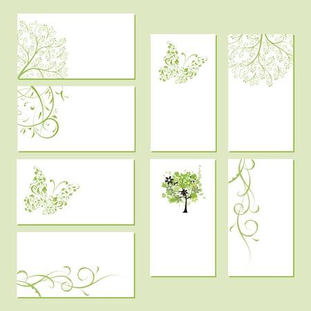 Conjunto de tarjetas de visita, ornamentos florales para el diseño