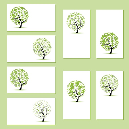 Set of business cards, floral trees for your design  Vector