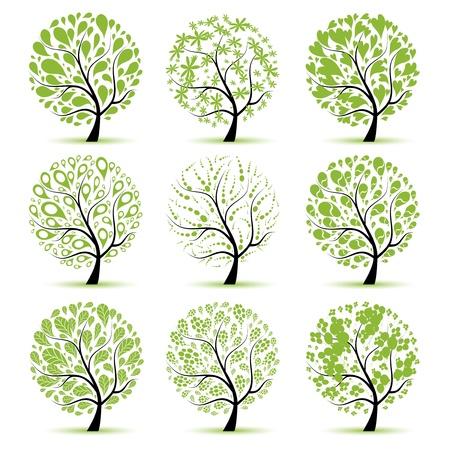 summer trees: Colecci�n de arte de �rbol para el dise�o  Vectores