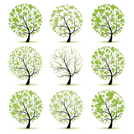 bomen zwart wit: Tree collectie kunst voor uw ontwerp  Stock Illustratie