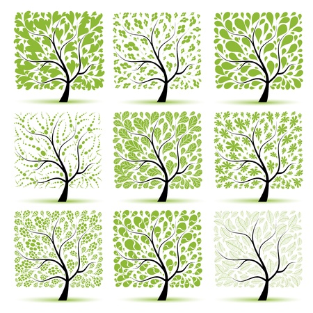 Art tree collection for your design Stock Vector - 8592014