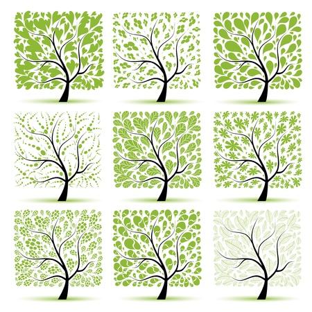 arboles blanco y negro: Colecci�n de arte de �rbol para el dise�o  Vectores