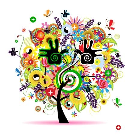 arcobaleno astratto: Energia sana di erbe albero per la progettazione