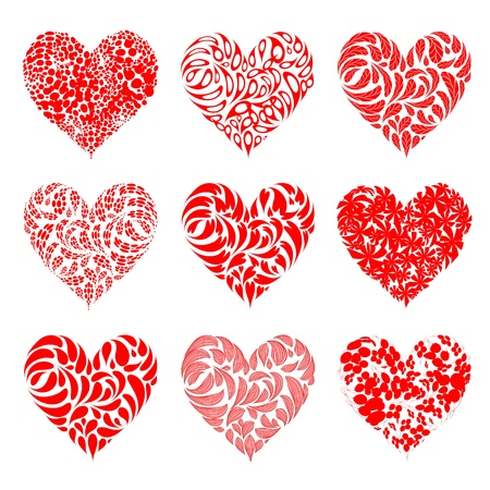 floral objects: Valentine hearts red for your design Illustration