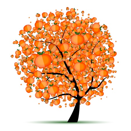 orange trees: Energy citrus tree for your design  Illustration