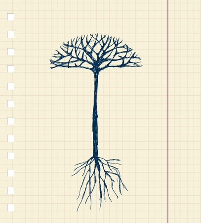Sketch tree with roots for your design Vector