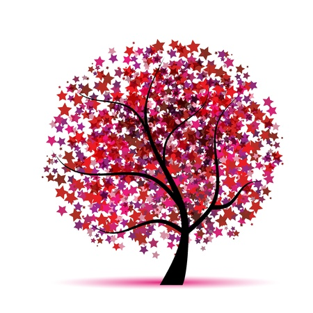 Starry tree fantasy for your design Stock Vector - 8591996