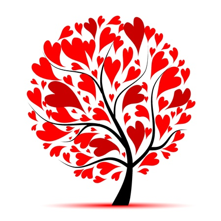 love tree: Valentine tree, love, leaf from hearts