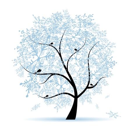 bird and tree: Winter tree, snowflakes. Christmas holiday.