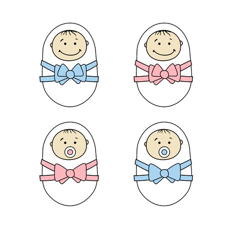 new born baby: Newborns babies Illustration