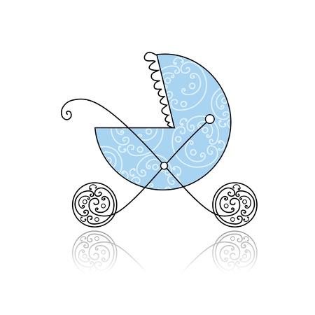 Baby buggy azul para el diseño Ilustración de vector