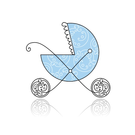 baby carriage: Baby buggy blue for your design Illustration