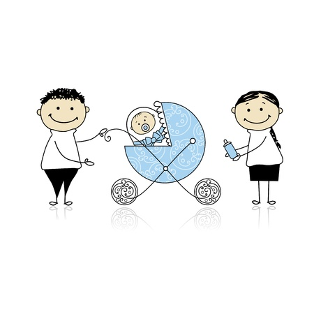parent with child: Parents with baby in buggy walking Illustration