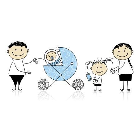 Parents walking with children, baby in buggy Stock Vector - 8718122