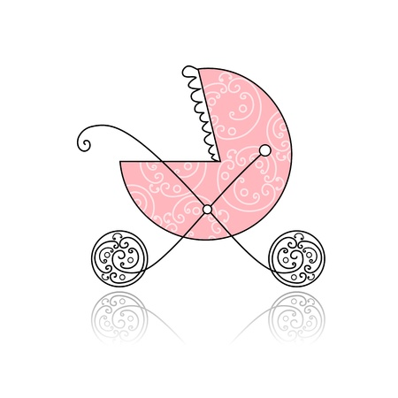 Baby buggy pink for your design Stock Vector - 8718110