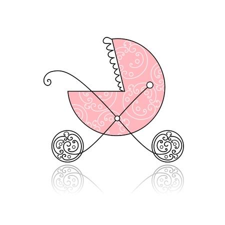 carriage: Baby buggy rosa per la progettazione Vettoriali