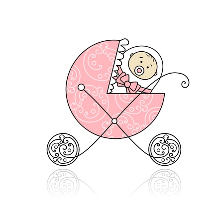 innocent girl: Newborn in babys buggy for your design Illustration