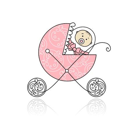 cochecito de bebe: Reci�n nacido en el carrito de beb� para el dise�o