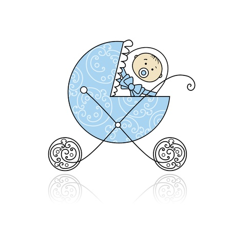 buggy: Newborn in babys buggy for your design Illustration