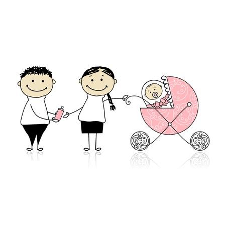 Parents walking with newborn, baby in buggy Vector