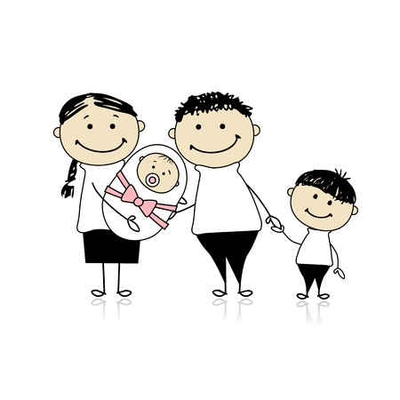 irm�o: Happy parents with children, newborn baby in hands