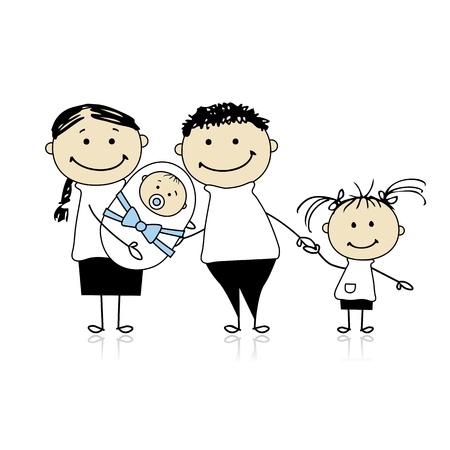 Happy parents with children, newborn baby in hands Stock Vector - 8718097