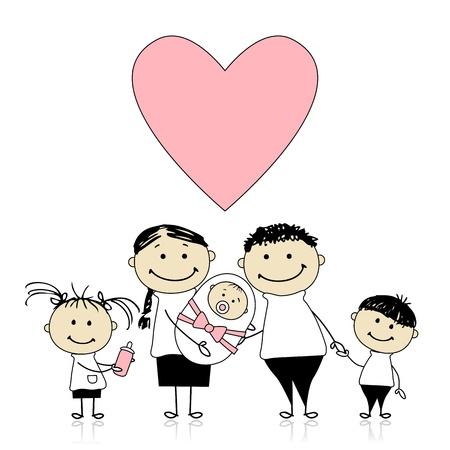 Happy parents with children, newborn baby in hands Vector