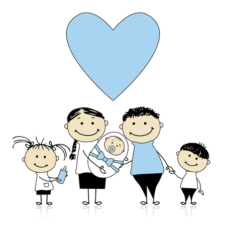 Happy parents with children, newborn baby in hands Vector