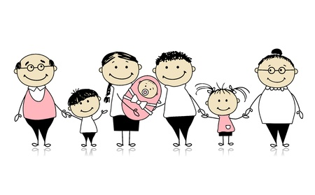 happy family isolated: Happy big family with children, newborn baby Illustration