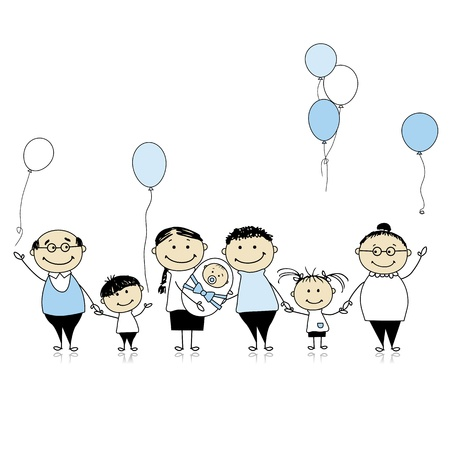 Happy birthday, big family with children, newborn baby Vector