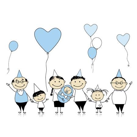 abuelo: Feliz cumpleaños, gran familia con niños, recién nacido Vectores