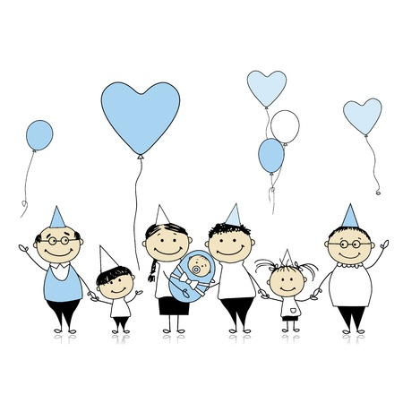 big family: Happy birthday, big family with children, newborn baby