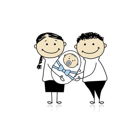 genitore figlio: Genitori felici con neonato