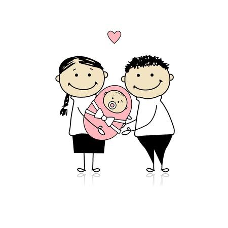 poussette: Heureuses parents avec nouveau-n�