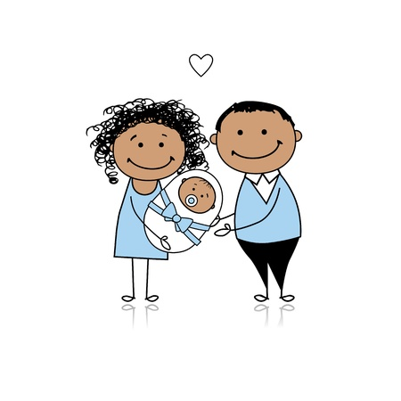 Happy parents with newborn baby Stock Vector - 8718104