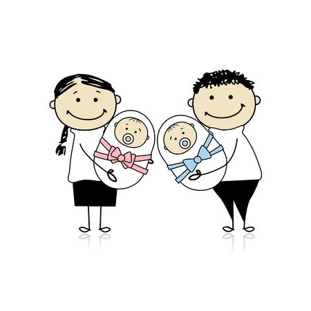 genitore figlio: Genitori felici con gemelli neonati