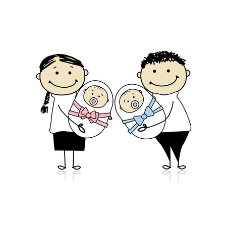 parent with child: Happy parents with newborn twins