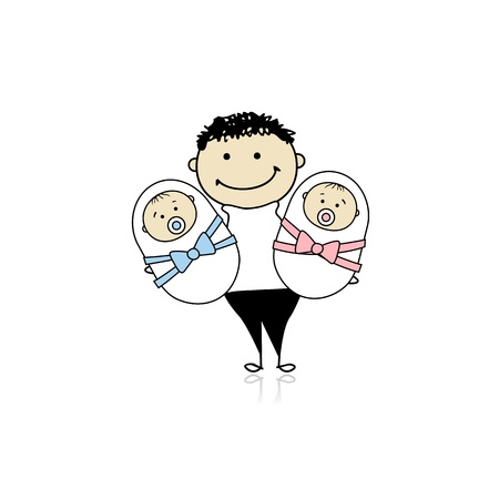 Happy father with newborn twins Stock Vector - 8718083