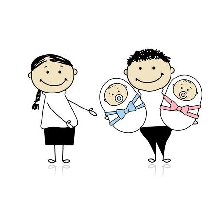 gemelos ni�o y ni�a: Padres felices con gemelos reci�n nacidos Vectores