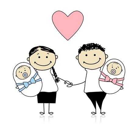 신생아 쌍둥이가있는 행복한 부모