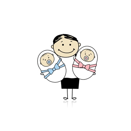행복한 신생아 쌍둥이 어머니