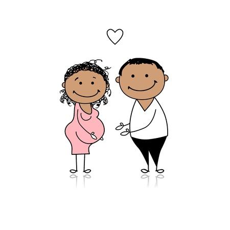 femme dessin: Heureuses parents attendant pour b�b�, grossesse